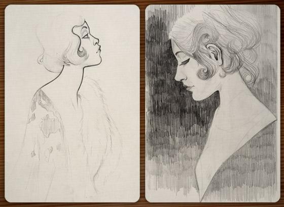 Skizze von einem Mädchenportrait nach einem Foto der Ziegfeld Follies aus den Zwanzigern