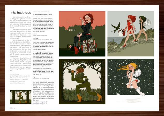 Iris Luckhaus mit Koffer in Berlin, Picknick, Pirschjagd und Engelchen im Jitter Magazin