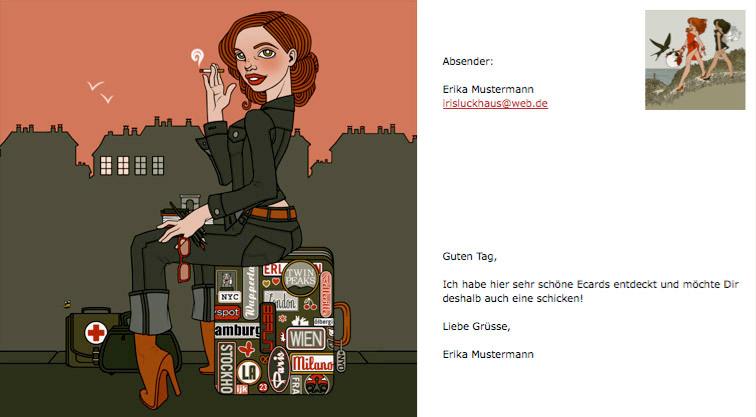 Elektronische Grußkarte oder eCard mit Koffer in Berlin