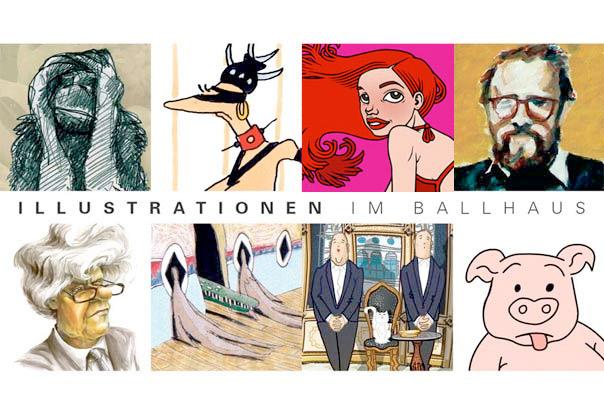 Einladung zur Ausstellung Illustrationen im Ballhaus