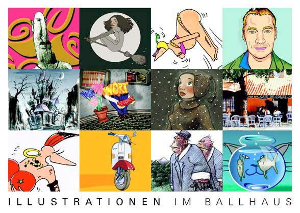 Einladung zur Ausstellung Illustrationen im Ballhaus II im Düsseldorfer Nordpark