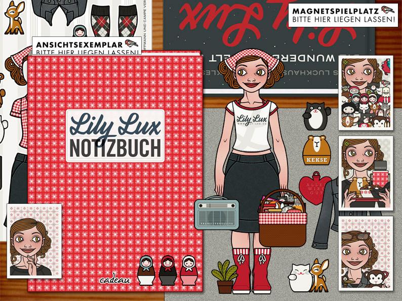 Planung der interaktiven Ausstellung auf Tischen von Iris Luckhaus für die Franfurter Buchmesse mit dem Buch Die wunderbare Welt der Lily Lux zum Blättern, Lily Lux Notizbuch mit Kugelschreiber zum Reinschreiben, Lily Lux Magnete zum Spielen und Postkarten zum Mitnehmen