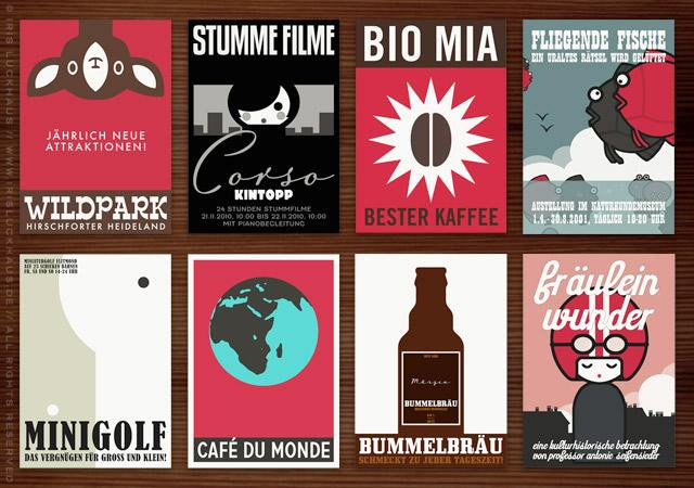 Grafik und Design mit Logo und Corporate Identity für die Orte, Ausstellungen, Ausflüge, Ausstellungen, Museen, Läden, Cafés, Restaurants, Kosmetika, Nahrungsmittel, Getränke und Produkte aus der wunderbaren Welt der Lily Lux