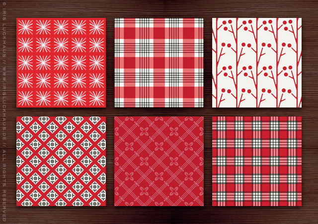 Rote Retro Muster im Stil der Fünfziger, Sechziger und Siebziger Jahre mit Karos, Ranken, Beeren, Sternen und Blumen für Lily Lux