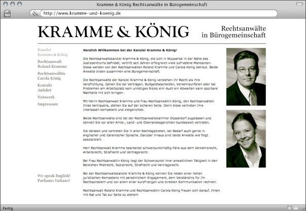 Webdesign für die Kanzlei Kramme & König