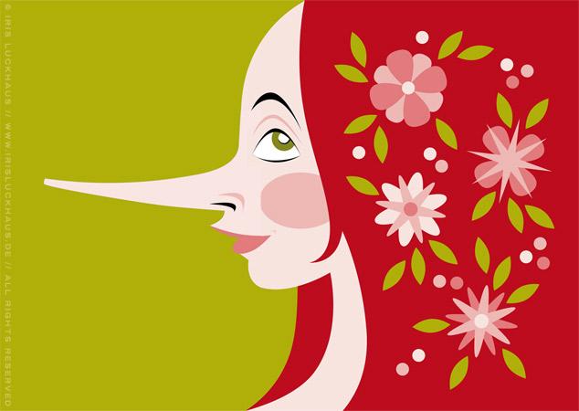 Farbenfrohe Vektorillustration mit dem Portrait eines Mädchen Profil mit langer Nase wie Pinocchio und mit Blumen im roten Haar