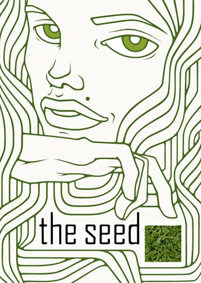 Einladungskarte mit Mädchenportait im Klimt-Stil für The Seed