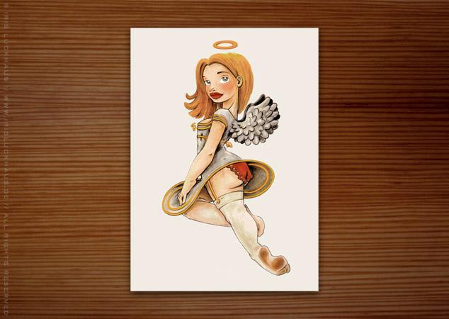 Weihnachtskarte mit kokettem Engel in Markertechnik