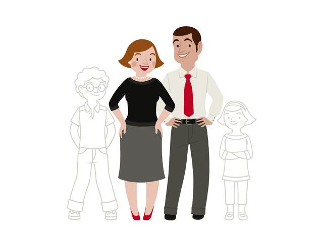 Zeichnung von einer Familie, einem Paar mit Kindern zum Ausmalen, für einen Fragebogen der Stadtsparkasse Wuppertal