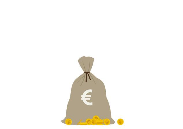 Zeichnung von einem Geldsack für einen Fragebogen der Stadtsparkasse Wuppertal