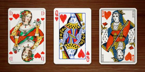 Herzdame in verschiedenen Kartenspielen