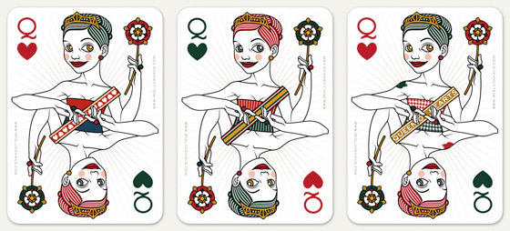 Auswahl von Korsetten und Schärpen für die Herzdame Spielkarte für 52 Aces Reloaded von Zeixs