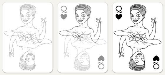 Skizzen und Konstruktion der Herzdame Spielkarte für 52 Aces Reloaded von Zeixs