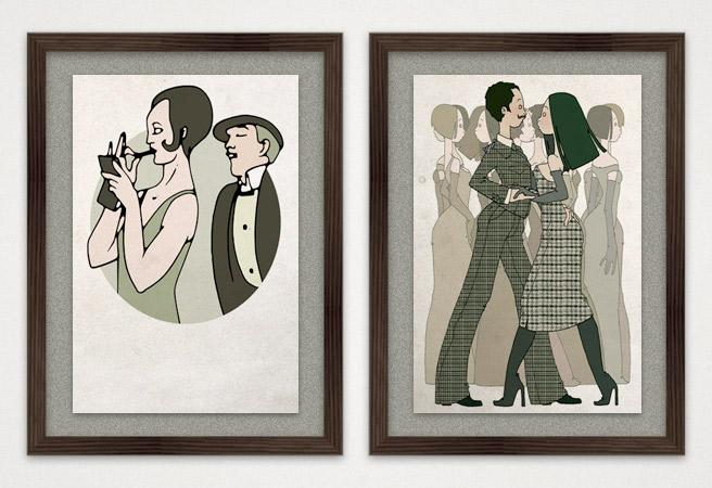 Illustration Tanztee und Madame auf der Titanic als Kunstdruck