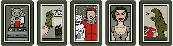 Kleine Rahmen mit Winkekatze, Krokodil als Handpuppe, Godzilla als Schneemann, Mitsu und Godzilla am Telefon für das Buch Mein Leben mit Mitsu von Marcel Magis