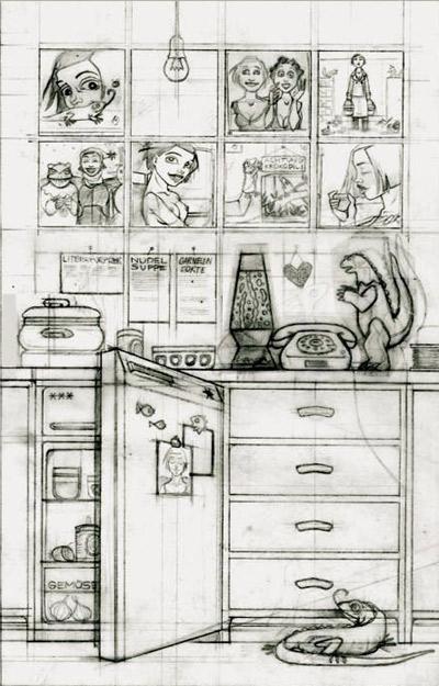 Skizze für Wartezeit für das Buch Mein Leben mit Mitsu von Marcel Magis