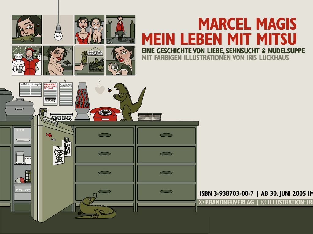 Wallpaper Kühlschrank für die Website zum Buch Mein Leben mit Mitsu von Marcel Magis