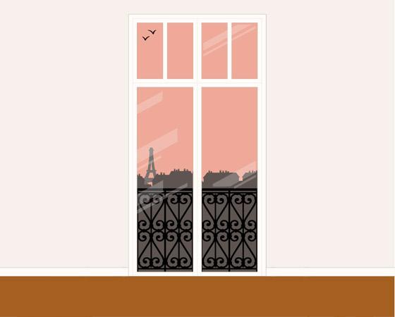 Konstruktion des Hintergrundbildes für die Modezeichnung mit Bleistift und Collage in Sepia und Rosé von einem Pinup Mädchen, das in Unterwäsche am Fenster eines Hotels in Paris steht, für das Magazin Kettenwirkpraxis
