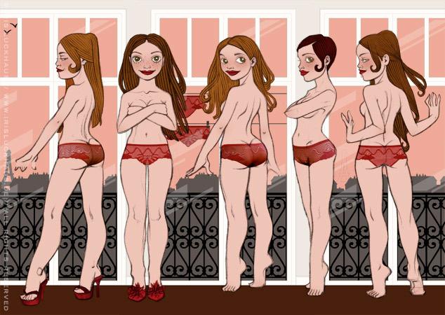 Figuren, Farben und Posen testen für die Modezeichnung mit Bleistift und Collage in Sepia und Rosé von einem Pinup Mädchen, das in Unterwäsche am Fenster eines Hotels in Paris steht, für das Magazin Kettenwirkpraxis