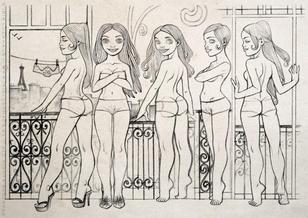 Skizze zur Findung von Character, Pose und Hintergrund der Modezeichnung mit Bleistift und Collage in Sepia und Rosé von einem Pinup Mädchen, das in Unterwäsche am Fenster eines Hotels in Paris steht, für das Magazin Kettenwirkpraxis