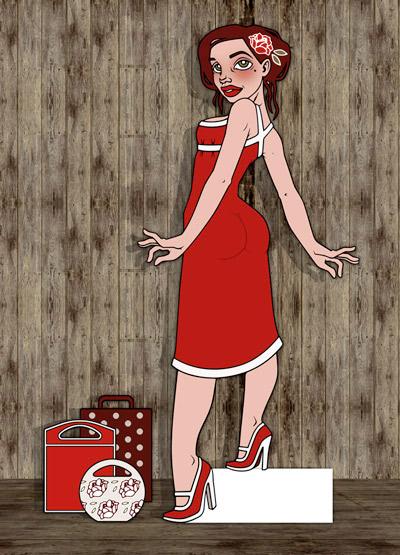 Aufstellfigur mit Modeillustration der Sympathiefigur Pearlie Mae im Kaufrausch mit Einkaufstüten, als Werbung für den Mode verkaufenden Onlineshop Label Suite