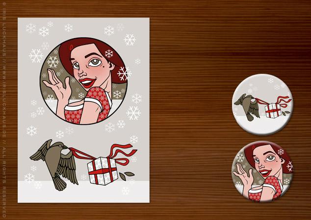 Weihnachtskarte mit Pearlie Mae für Label Suite