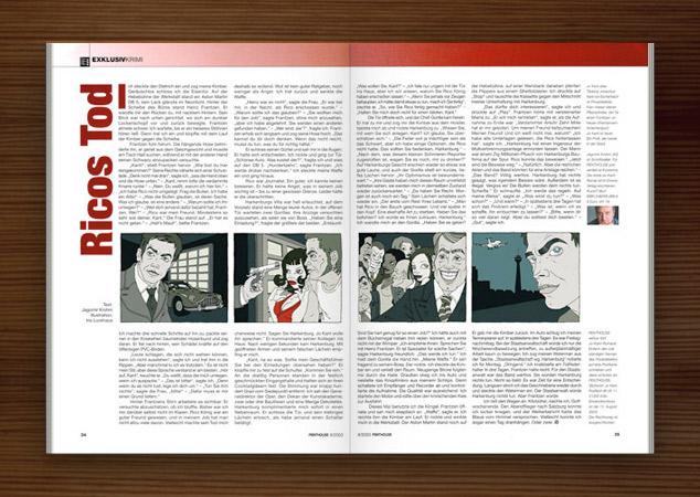 Penthouse Magazin mit Illustrationen im Film Noir Comic Stil zur Krimi Geschichte Ricos Tod mit Detektiv, Jaguar, Party, Pistole und fiesen Typen von Jagomir Krohm