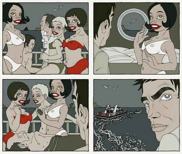 Illustrationen im Film Noir Comic Stil zur Krimi Geschichte Katamaran mit Detektiv, Segelboot, Yacht, Crew und Models im Bikini von Jagomir Krohm für das Penthouse Magazin