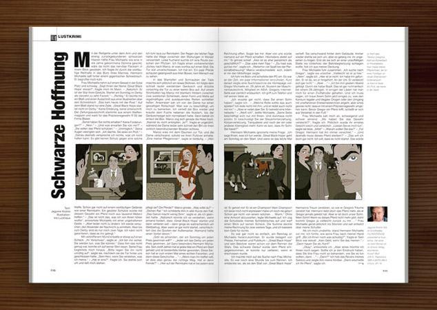 Penthouse Magazin mit Illustrationen im Film Noir Comic Stil zur Krimi Geschichte Schwarze Hoffnung mit Detektiv, Pferderennen, Pferden, Jockeys, Ställen und Liebhabern von Jagomir Krohm