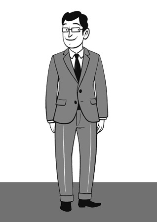 Kleine Skizze eines Chefs