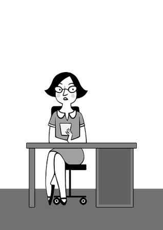Kleine Skizze einer Sekretärin