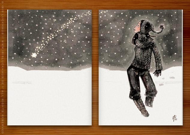 Weihnachtskarte mit einer Zeichnung von einem Mädchen beim Spaziergang im Schnee mit einer Sternschnuppe für Dr. Hilbert