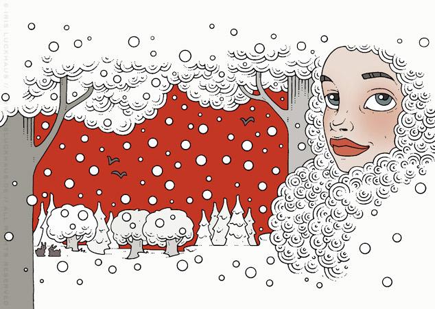 Illustration eines Märchenportraits mit Mütze im Winter vor einer Schneelandschaft für Anna Karenina