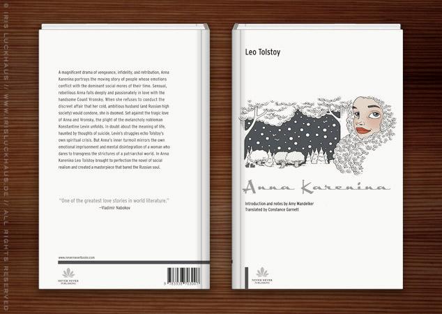 Illustration eines Märchenportraits mit Mütze im Winter vor einer Schneelandschaft als Umschlag für das Buch Anna Karenina