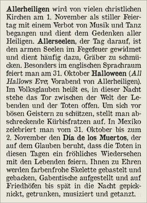 Erläuterung zum Brauchtum an Allerheiligen, Allerseelen, Halloween bzw. Dia de los Muertos in aller Welt