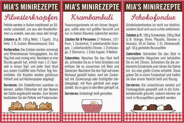Kleine Rezepte für italienische Silvesterkrapfen namens Pettole, die nicht nur gut schmecken, sondern auch ein wunderbares Orakel sind, die feierliche Feuerzangenbowle Krambambuli und ein köstliches Schokoladenfondue, für Lily Lux Notizbuch