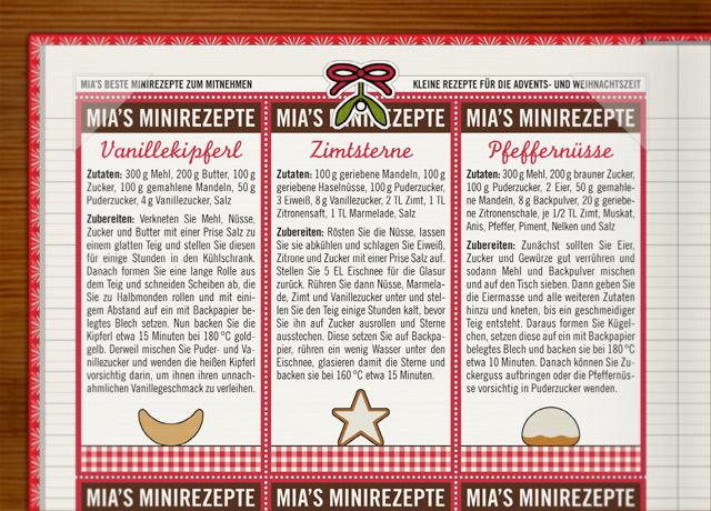 Rezepte für vorweihnachtliches Adventsgebäck wie Vanillekipferl, Zimsterne und Pfeffernüsse im Lily Lux Notizbuch