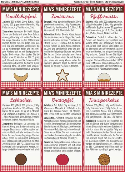 Advents- und Weihnachtsgebäck mit kleinen Rezepten für Vanillekipferl, Zimtsterne, Pfeffernüsse, Lebkuchen, Bratäpfel und Knusperkekse für unser Lily Lux Notizbuch