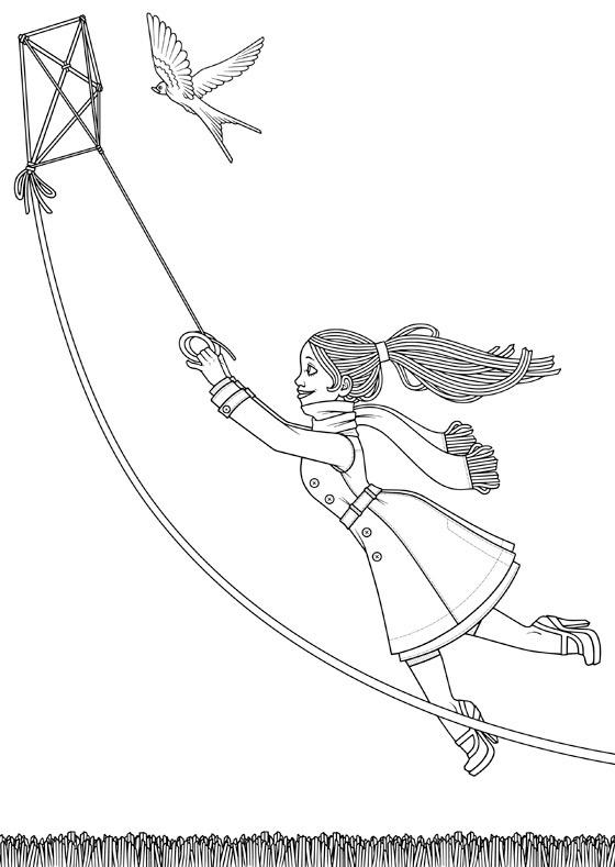 Malbogen mit Lily Lux im Herbst beim Flug mit einem Lenkdrachen
