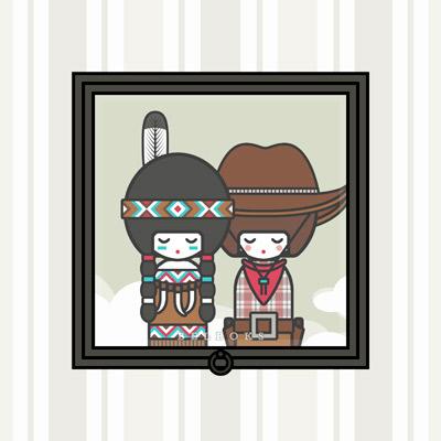 Lily Lux kleine Püppchen als Indianerin oder Squaw mit Feder im Haar und Cowboy oder Cowgirl mit Stetson und Karohemd
