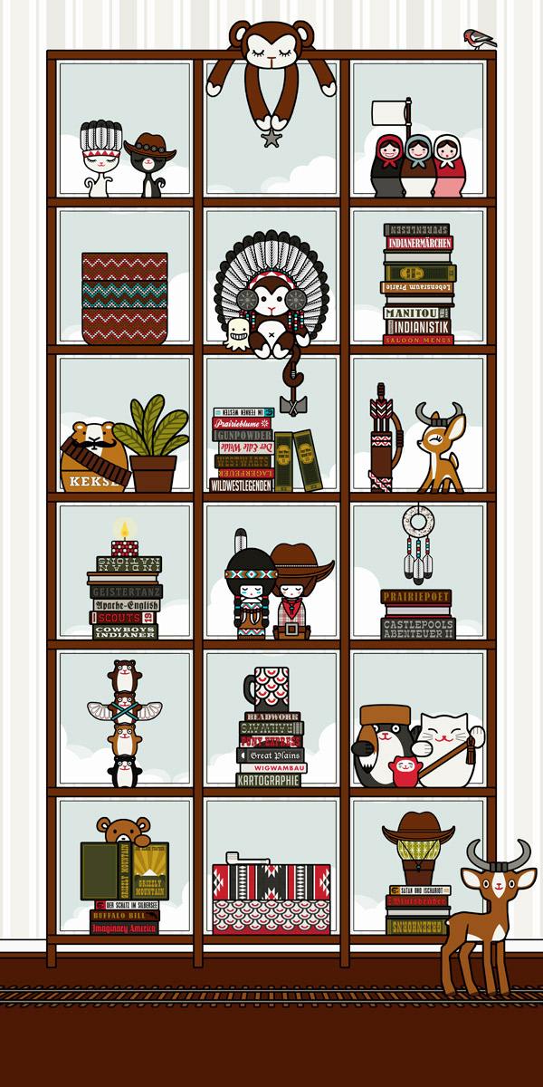 iguren und Details für die Illustration von Lily Lux' Zimmerreise in den Wilden Westen für die Anthologie Hugh! Winnetou mit Cowboy und Cowgirl, Indianer, Squaw und Häuptling, Kaktee, Eisenbahn, Sheriff und Bandit