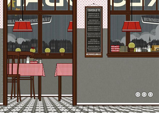 Restaurant als Hintergrund zur Raumgestaltung und als Seitenlayout für Lily Lux