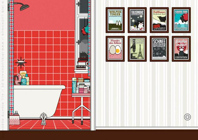 Bad und Diele der Wohnung als Hintergrund zur Raumgestaltung und als Seitenlayout für Lily Lux
