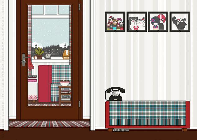 Diele und Wohnzimme als Hintergrund zur Raumgestaltung und als Seitenlayout für Lily Lux