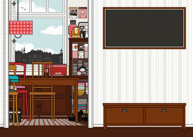 Küche und Diele der Wohnung als Hintergrund zur Raumgestaltung und als Seitenlayout für Lily Lux