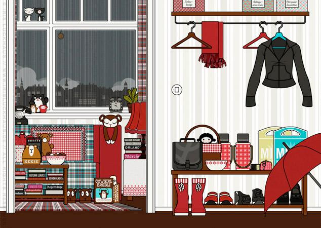 Wohnzimmer und Flur der Wohnung als Hintergrund zur Raumgestaltung und als Seitenlayout für Lily Lux