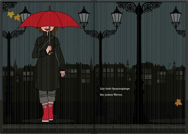 Zeichnung von einem Mädchen mit rotem Schirm bei Regen, Herbst und Nacht in der Stadt aus dem Buch Die wunderbare Welt der Lily Lux