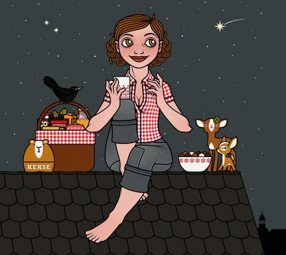 Dachpicknick bei Nacht, Umschlagmotiv für das Buch Die wunderbare Welt der Lily Lux