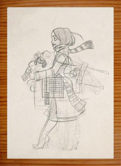 Skizzen für die Pose eines Mädchens, das auf dem Flohmarkt oder Sperrmüll Dinge, Taschen, Lampen, Tassen und Figuren findet und mitnimmt und ganz bepackt ist, für Lily Lux