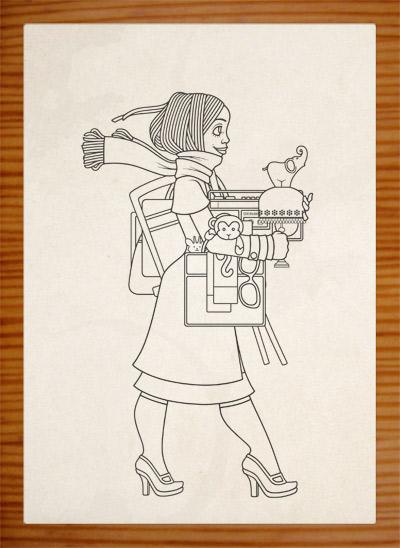 Bearbeiten der Zeichnung der Pose eines Mädchens, das auf dem Flohmarkt oder Sperrmüll Dinge, Taschen, Lampen, Tassen und Figuren findet und mitnimmt und ganz bepackt ist, für Lily Lux